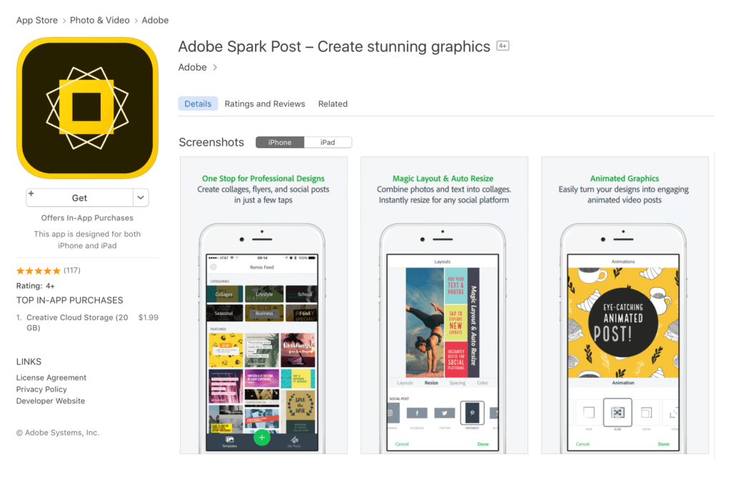 Adobe Spark Post Photo Design Editing Mobile App