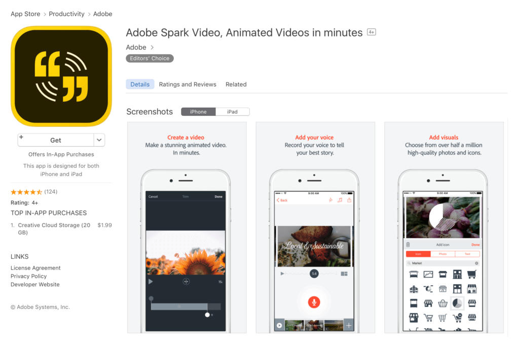 Adobe Spark Video Editing Mobile App